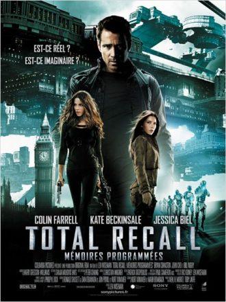 Affiche du film Total Recall : Mémoires Programmées de Len Wiseman sur laquelle nous découvrons les trois personnages principaux ainsi que l'univers futuriste du film.