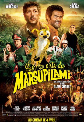 Affiche du film Sur la piste du Marsupilami réalisé par Alain Chabat sur laquelle nous découvrons tous les personnages principaux sur un montage photo. Le Marsupilami est au centre de l'affiche, bondissant.