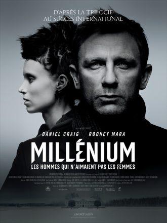 Affiche du film Milénium - Les hommes qui n'aimaient pas les femmes. Daniel Craig est de face devant un fond gris. Rooney Mara est derrière lui de profil.