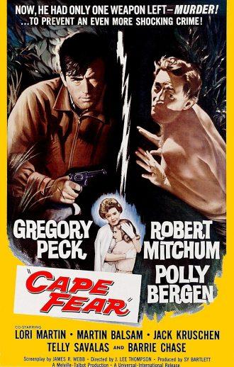 Affiche de la version originale des Nerfs à Vif. A travers un dessin, nous comprenons la dualité entre Gregory Peck et Robert Mitchum. Au centre du dessin, on aperçoit la femme et la fille de Peck.