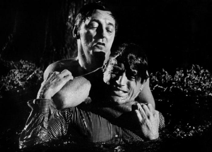 Photo de Robert Mitchum et Gregory Peck dans le film Les Nerfs à vif. Dans une rivière, Mitchum étrangle Peck et tente de le noyer.