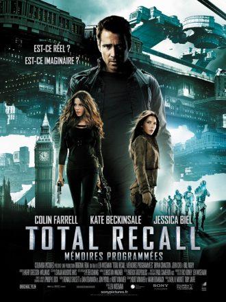 Affiche du film Total Recall Mémoires Programmées sur laquelle les personnages principaux et l'univers futuriste du film sont présentés sur un montage photo.