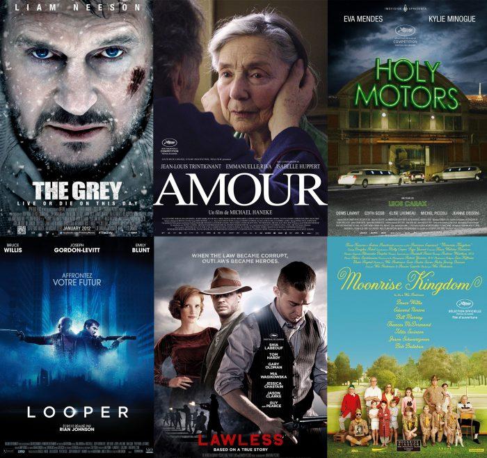 Montage photo de certaines affiches de films de 2012 : Le Territoire des Loups, Amour, Holy Motors, Looper, Des Hommes Sans Loi, Moonrise Kingdom.