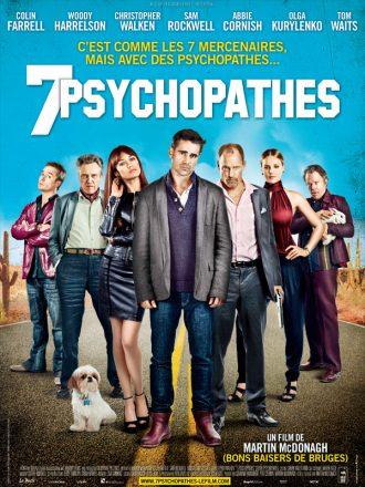 Affiche du film 7 Psychopathes sur laquelle se tiennent les personnages principaux sur une route du désert américain.