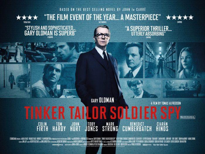 Bannière du film La Taupe de Tomas Alfredson. Gary Oldman se tient au centre d'un montage photo où l'on découvre les personnages secondaires et l'univers froid des espions.