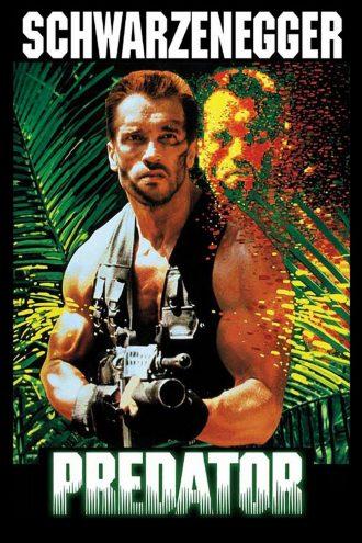 Affiche du film Predator de John McTiernan sur laquelle Arnold Schwarzenegger est dans le jungle, armé, observé par le capteur thermique du Predator.