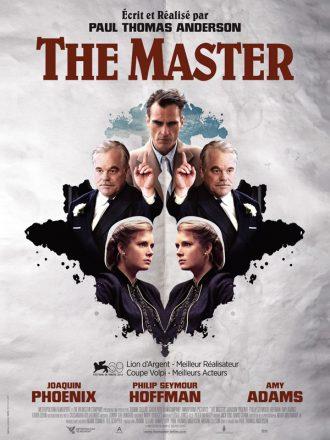 Affiche du film The Master de Paul Thomas Anderson. L'affiche reprend le principe d'un Rorschach et de la symétrie en jouant avec les portraits des trois personnages principaux.