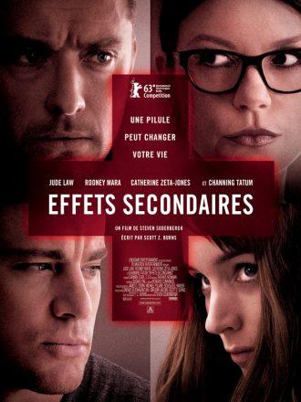 Affiche d'Effets Secondaires de Steven Soderbergh sur laquelle nous voyons un portrait des quatre personnages principaux derrière une croix rouge évoquant des médicaments.