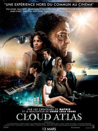 Affiche du film Cloud Atlas sur laquelle nous voyons les personnages principaux de la fresque dans un univers futuriste et féérique.