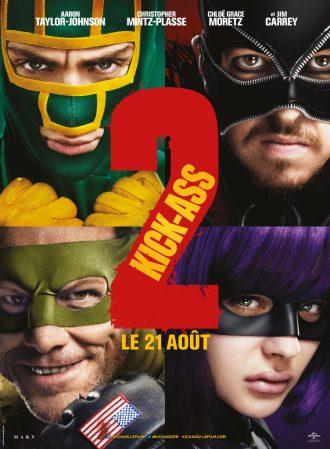 Affiche de Kick Ass 2 sur laquelle nous voyons un portrait de tous les personnages principaux dans leur tenue de super-héros.