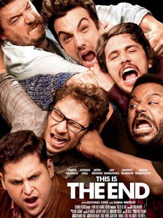 Affiche du film C'est la fin. Nous y voyons les personnages principaux se battre et hurler face à l'objectif.