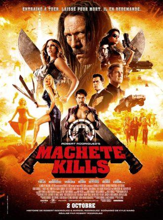 Affiche de Machete Kills de Robert Rodriguez sur lequel nous voyons tous les personnages principaux sur un montage photo.