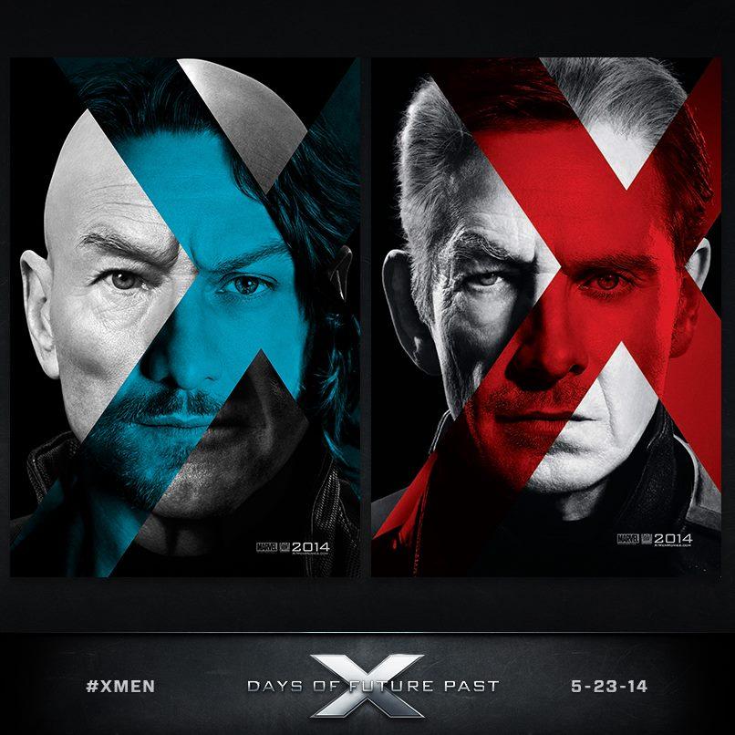 Photo montage de Charles Xavier et Magnéto entre leur jeunesse et leur vieillesse pour les affiches personnage d'X-Men : Days of Future Past.