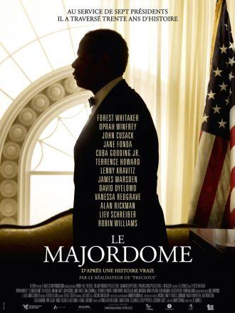 Affiche du film Le Majordome de Lee Daniels. Nous y voyons Forrest Whitaker de profil dans la Maison Blanche. Un drapeau américain est à sa droite.
