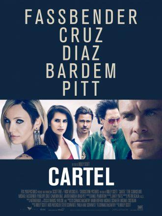 Affiche de Cartel de Ridley Scott. L'affiche joue énormément sur le nom de ses acteurs desquels on voit le portrait sur un montage photo peu conséquent.