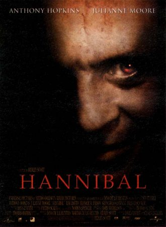 Affiche d'Hannibal de Ridley Scott. Nous y voyons le visage pervers d'Hannibal souriant dans l'ombre.