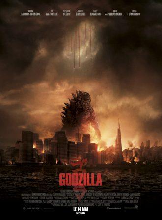 Affiche de Godzilla de Gareth Edwards, sur laquelle nous voyons le monstre de dos dans une ville en flammes. Des soldats parachutés lui tombent dessus.