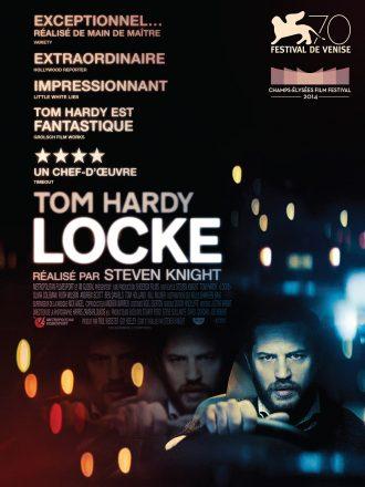 Affiche du film Locke de Steven Knight sur laquelle nous voyons Tom Hardyau volant de sa voiture dans la nuit.