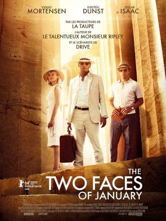 Affiche de Two Faces of January sur laquelle nous voyons le trio d'acteurs au milieu de colonnes grecques.