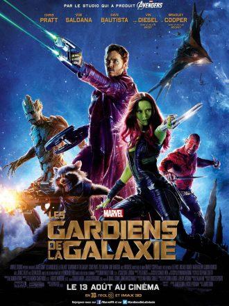 Affiche du film Les Gardiens de la Galaxie de James Gunn sur laquelle nous voyons tous les personnages principaux en position de combat.