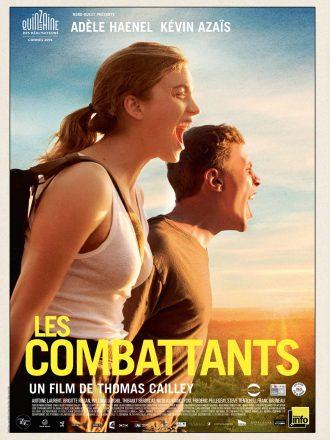 Affiche du film Les combattants de Thomas Cailley. Les deux acteurs hurlent dans un paysage ensoleillé.