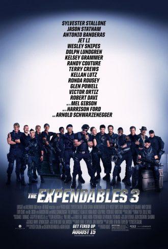 Affiche d'Expendables 3. Nous y voyons tout le casting réuni pour une grande photo de famille.