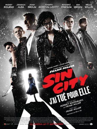 Affiche du film Sin City - J'ai tué pour elle de Robert Rodriguez et Frank Miller. L'affiche reprend les mêmes codes que l'épisode précédent, à savoir un photo de chaque personnage sur un fond en noir et blanc pluvieux.