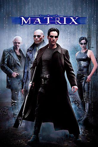 Affiche du film Matrix des Wachowski. Nous y voyons quatre des personnages principaux, armé, avec des lignes de code défilant derrière et Neo au premier plan.