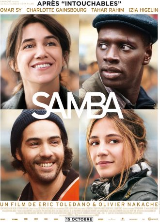 Affiche du film Samba d'Eric Tolédano et Olivier Nakache. Nous y voyons le portrait des quatre personnages principaux.