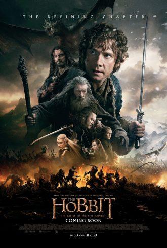 Affiche du Hobbit : La Bataille des Cinq Armées, sur laquelle nous découvrons tous les personnages principaux dans une atmosphère sombre.