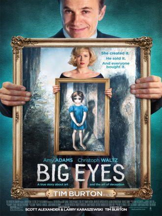 Affiche du film Big Eyes de Tim Burton. Christoph Waltz porte un tableau dans lequel Amy Adams tient elle-même l'une de ses peintures.