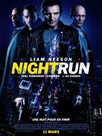 Affiche du film Night Run. Nous y voyons New York vue de haut ainsi que les quatre protagonistes principaux incarnés par Liam Neeson, Joel Kinnaman, Common et Ed Harris.