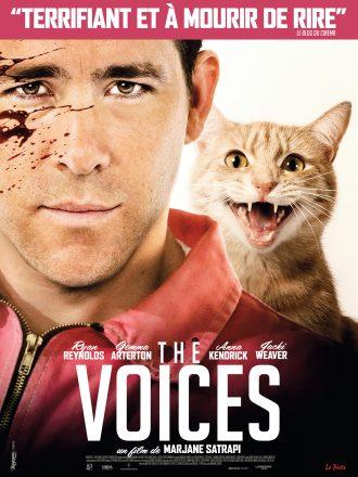 Affiche du film The Voices de Marjane Satrapi. Nous y voyons Ryan Reynolds taché de sang sur le visage ainsi que son chat qui paraît méchant.