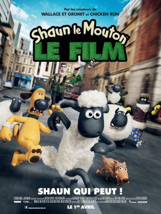 Affiche du film Shaun Le Mouton. Nous voyons Shaun courir à un rythme effréné, entouré de ses amis. Ils sont poursuivis par un humain.