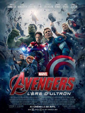 Affiche d'Avengers : L'ère d'Ultron. Au tour des super-héros se dresse l'armée d'Ultron ainsi que certains des personnages secondaires que l'on ne distingue pas totalement.