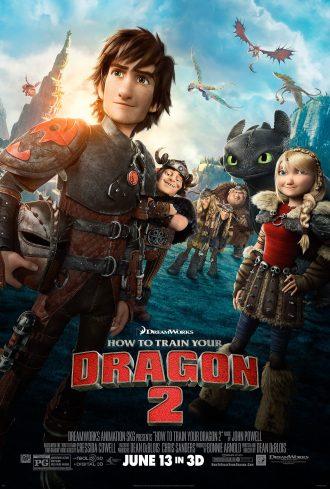 Affiche du film Dragons 2, sur laquelle nous voyons Harold et Krokmou ainsi que tous leurs amis.