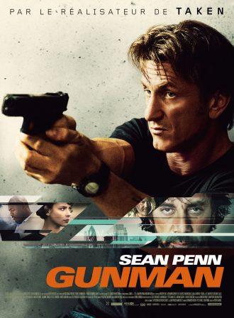 Affiche de Gunman de Pierre Morel. Nous y voyons Sean Penn brandir une arme, ainsi que les personnages secondaires sur un montage photo.