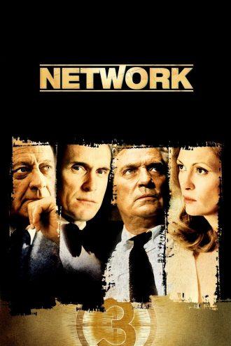 Affiche du film Network d'e Sidney Lumet. Nous y voyons les portraits des quatre personnages principaux ainsi qu'un compte à rebours avant un lancement vidéo.