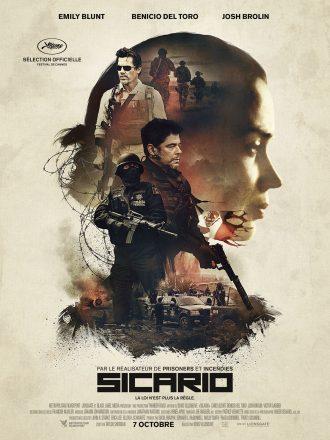 Poster du film Sicario de Denis Villeneuve. NOus y voyons le visage estompé d'Emily Blunt, l'héroïne. Dans ce visage de profil se tiennent les principaux personnages et éléments du film.