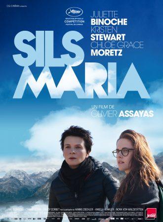 Poster du film Sils Maria d'Olivier Assayas. Nous y voyons les actrices Juliette Binoche et Kristen Stewart avec au second plan un paysage montagneux.