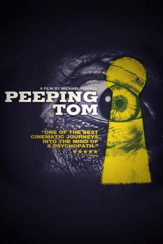 Poster du film Le Voyeur de Michael Powell. L'affiche laisse entrevoir l'oeil d'un homme qui regarde à travers une serrure.