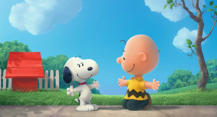 Photographie de Snoopy et les Peanuts, sur laquelle Snoopy et Charlie Brown s'apprêtent à se prendre dans les bras.