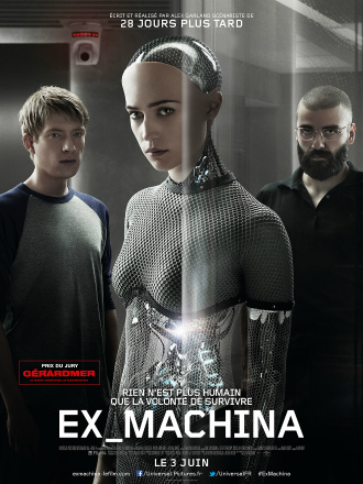 Poster d'Ex Machina réalisé par Alex Garland. Nous voyons au centre de l'affiche l'intelligence artificielle du film interprétée par Alicia Vikander, entourée par les personnages campés par Domhnall Gleeson et Oscar Isaac.