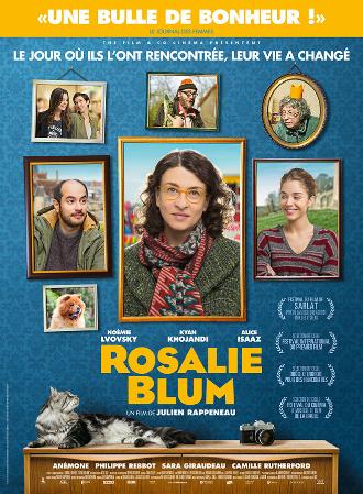 Affiche du film Rosalie Blum réalisé par Julien Rappeneau. L'affiche évoque un mur sur le quel sont posés de nombreux tableaux, dans lesquels nous pouvons voir les photos des principaux personnages.