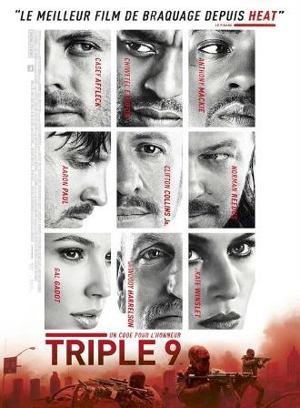 Affiche du film Triple 9 réalisé par John Hillcoat. La seule couleur de l'affiche est le rouge. Nous voyons sur l'affiche une photo du visage de chacun des comédiens du film.