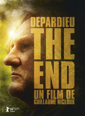 Affiche de The End de Guillaume Nicloux. Nous voyons le profil de Gérard Depardieu affichant un regard sombre. Les arbres et le soleil apparaissent floutés au second plan.
