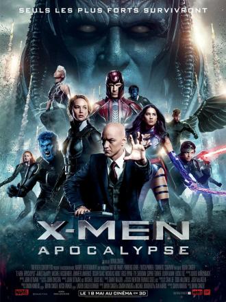 Affiche d'X-Men Apocalypse sur laquelle nous voyons les héros en position de combat et le visage menaçant d'Apocalypse en fond.