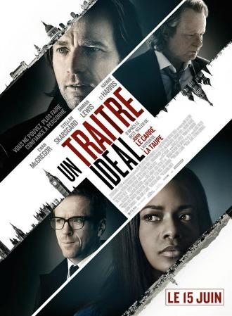 Affiche d'Un Traître Idéal sur laquelle nous voyons les personnages principaux sur un montage photo évoquant plusieurs villes et dans le style des films d'espionnage.