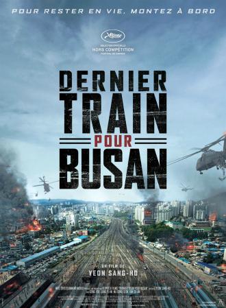 Affiche du Dernier Train pour Busan sur laquelle nous voyons une gare dévastée et des zombies sautant sur des hélicoptères.
