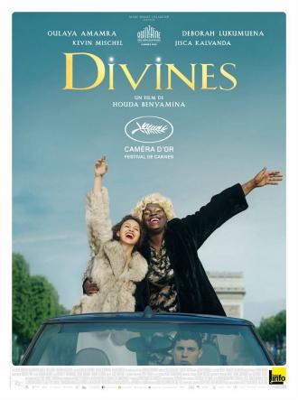 Affiche du film Divines sur laquelle les deux héroïnes sont devout dans une décapotable sur les Champs Elysées.